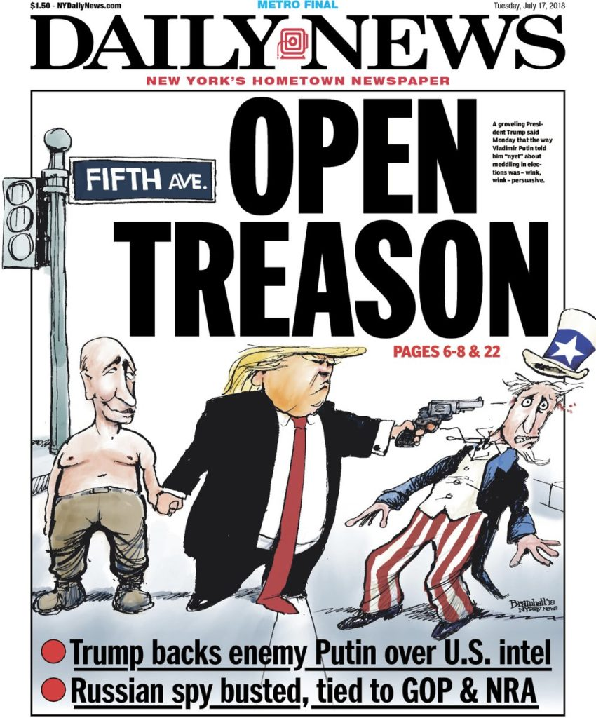 New York Daily News Cover: Trump Embarrasses The United States With Treasonous Acts